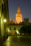 La Giralda, Seville. The Giralda tower of Seville Cathedral at night stock photography