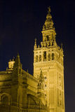 La Giralda, Seville. The Giralda tower of Seville Cathedral at night royalty free stock images