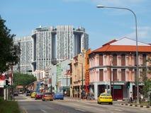 La giunzione nella Chinatown di Singapore, Singapore fotografia stock