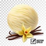la glace à la vanille réaliste du vecteur 3d écope la fleur et les bâtons de vanille illustration libre de droits