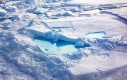 La glace au Pôle Nord et s'approchent en 2016 Photo stock