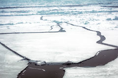 La glace au Pôle Nord et s'approchent en 2016 Image stock