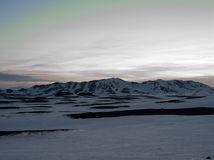 La glace a couvert des montagnes en île occidentale du nord Photos libres de droits