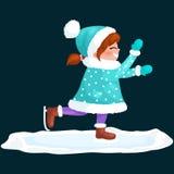 La glace de patinage extérieure de fille d'isolement, l'activité de vacances d'hiver d'amusement, le Joyeux Noël et la bonne anné Photo libre de droits