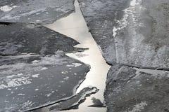 La glace de ressort circulant sur la rivière Photo libre de droits