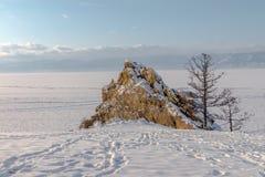 La glace du lac Baïkal, Russie en mars 2018 Images libres de droits