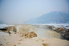 La glace et la neige de la rivière Yellow Images libres de droits