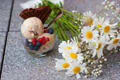 La glace faite maison de banane avec des chia-graines, le yaourt et un chocolat waffle Images libres de droits