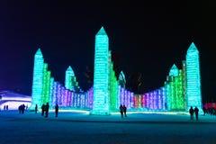 La glace internationale de Harbin et le festival de sculpture sur neige est un festival annuel d'hiver qui a lieu à Harbin images libres de droits