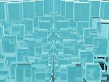 La glace verte bleue transparente enferme dans une boîte le fond Photos libres de droits