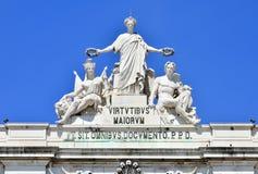La gloria, detalle del arco de Rua Augusta, Lisboa Fotos de archivo libres de regalías