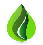 La goccia di acqua copre di foglie logo Fotografia Stock