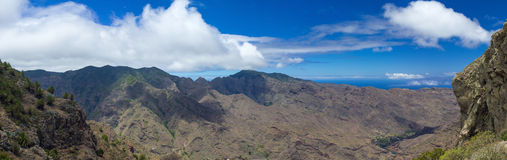 La Gomera, Canary Islands, view from Degollada de Peraza. Extra large panorama Royalty Free Stock Photo