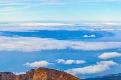 La Gomera island behind the clouds in Tenerife, Spain.  royalty free stock image