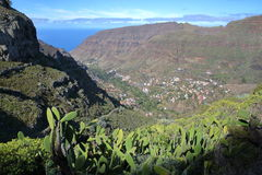 LA GOMERA, SPAIN: General view of Valle Gran Rey from a hiking trail near El Cercado and with cactus plants in the foreground royalty free stock images