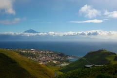 La Gomera, Tenerife. Postcard View from La Gomera to Tenerife and El Teide stock image