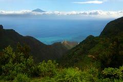 La Gomera, Tenerife. Postcard View from La Gomera to Tenerife and El Teide royalty free stock photography
