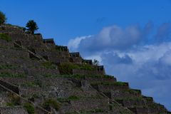 On la gomera terraces are laid out on many mountain slopes stock photo