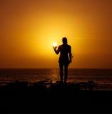 La Gomera - Valle Gran Rey - Hautacuperche en la puesta del sol Fotografía de archivo libre de regalías