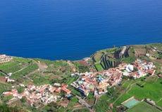 La Gomera - vista aérea de Agulo de Mirador de Abrante Imagens de Stock