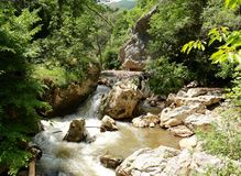 La gorge d'Erma River, Tran Gorge, Bulgarie Images stock