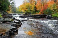 La gorge tombe cascade à écriture ligne par ligne d'automne du Michigan Photos libres de droits