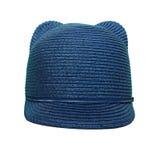 La gorra de béisbol de los niños con los cuernos fotografía de archivo