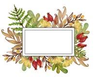 La gouache dell'acquerello che disegna i rami variopinti delle foglie ha messo del autum Illustrazione Vettoriale