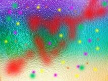 la goutte de pluie sur le miroir et le cupidon de flèche de coeur brouillent coloré Images libres de droits