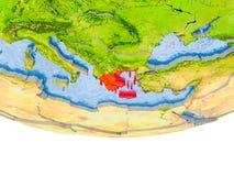 La Grèce en rouge sur le modèle de la terre Photographie stock libre de droits