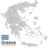 La Grèce et les divisions administratives Images libres de droits