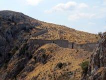 La Grèce, Peloponnesus, un mur très long photo stock