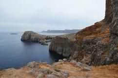 La Grèce, Rhodes Belles vues Mer et montagne Photo libre de droits