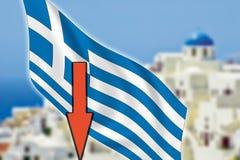 La Grèce, Santorini, grexit, flèche, drapeau Photographie stock
