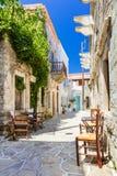 La Grèce traditionnelle authentique - tavernas mignons de rue, Naxos islan photo libre de droits