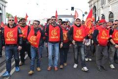 La grève des ouvriers métallurgistes en Italie Photographie stock libre de droits