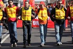 La grève des ouvriers métallurgistes en Italie Photographie stock