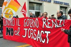 La grève provoquée par les travaux agissent en Italie Photographie stock