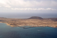 La Graciosa 01. View of the island of La Graciosa from Lanzarote stock photos