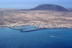 La Graciosa 02. Island of La Graciosa with harbour seen from Lanzarote royalty free stock images