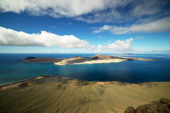 La Graciosa. Graciosa Island or commonly La Graciosa (Spanish for 'graceful') is a volcanic island in the Canary Islands of Spain, located 2 km (1.2 mi) north of royalty free stock photo