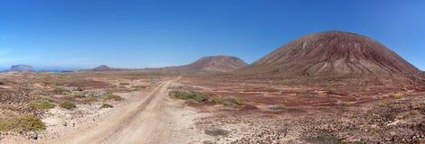 La Graciosa - Sandy dirt road past the Montana del Mojon Royalty Free Stock Image