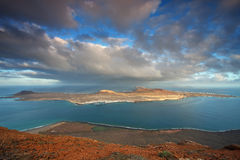 La Graciosa. View on La Graciosa island from Lanzarote, Canary Islands, Spain Stock Image