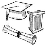 La graduazione obietta l'abbozzo royalty illustrazione gratis