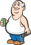 La graisse de bande dessinée a retiré l'homme avec la canette de bière et l'extérieur de TV illustration libre de droits