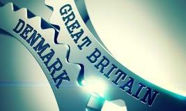 La Gran Bretagna Danimarca - meccanismo delle ruote dentate metalliche 3d Fotografia Stock Libera da Diritti