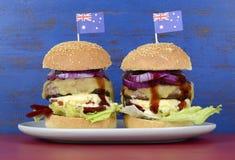 La gran hamburguesa del Bbq de Aussie Foto de archivo libre de regalías