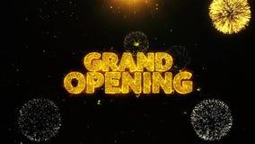 La gran inauguración desea la tarjeta de felicitaciones, invitación, fuego artificial de la celebración colocado