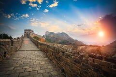 La Gran Muralla con resplandor de la puesta del sol Fotografía de archivo libre de regalías