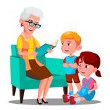 La grand-mère lit un livre à son vecteur de petits-enfants Illustration d'isolement illustration libre de droits